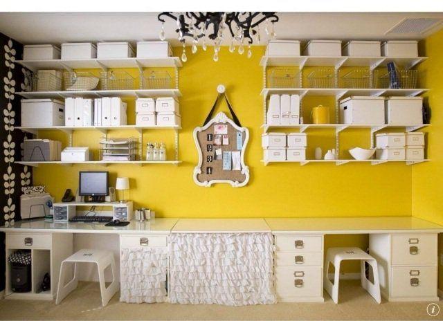 peinture murale en jaune pour le bureau à domicile