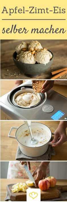 Mit einer Eismaschine könnt ihr eure Wunsch-Eissorte einfach selber machen! Wir sind ganz verrückt nach diesem winterlichen Apfel-Zimt Eis mit gerösteten Haselnüssen!