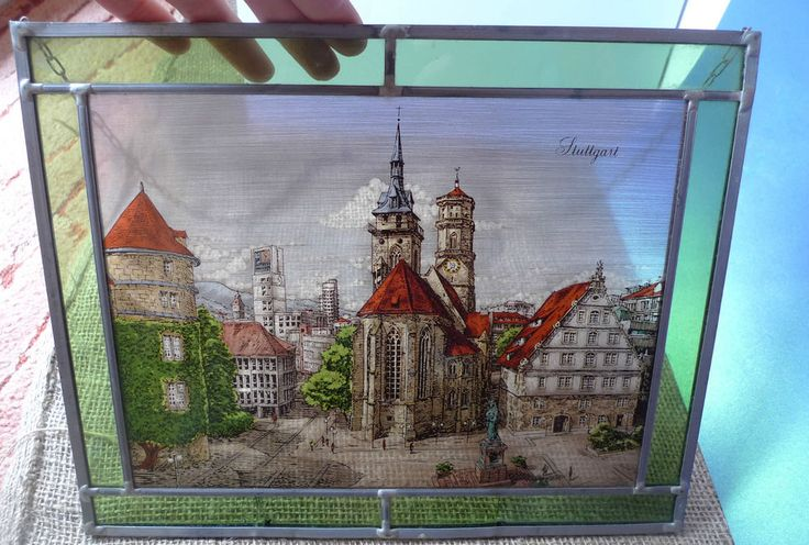 Old Germany GLASS Plaque Picture Hand Painted STUTTGART Decor ART Souvenir