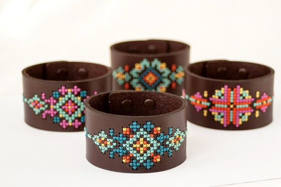 DIY Cross Stitch Kit  Leather Cuff with por RedGateStitchery