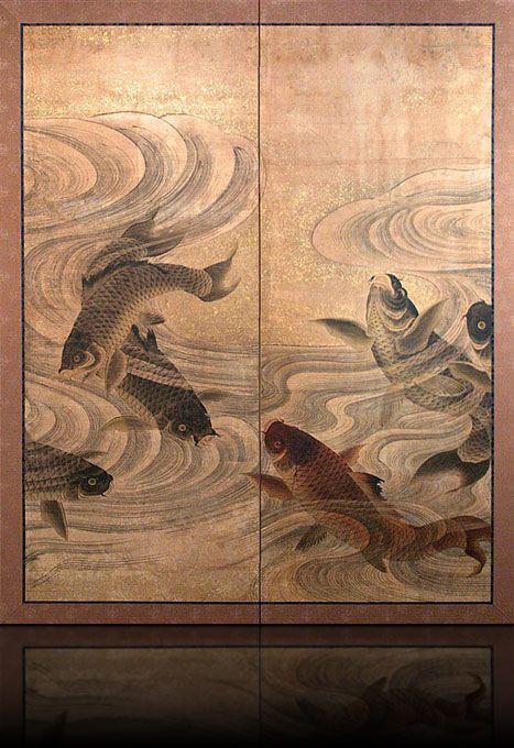 galerie minet merenda art du japon byobu japonais antique paravent 2 feuilles carpes et. Black Bedroom Furniture Sets. Home Design Ideas