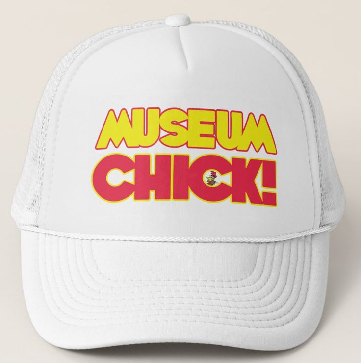 """Museum Chick Trucker Hat,  One for the museum pro. Adjustable from 17"""" to 24"""". 100% polyester foam front. Wide area to feature your design. 100% nylon mesh back keeps you cool. Available in 11 color combinations https://www.zazzle.com/museum_chick_trucker_hat-148095933759483221 #museum #hat #artgallery #gift"""
