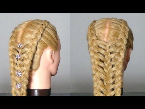 Рыбий хвост + коса-цепочка. - YouTube