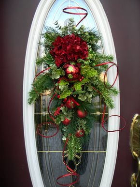 "Christmas Holiday Teardrop Swag Vertical Door Decor..""Christmas Swirls""..One of a Kind. $80.00, via Etsy."