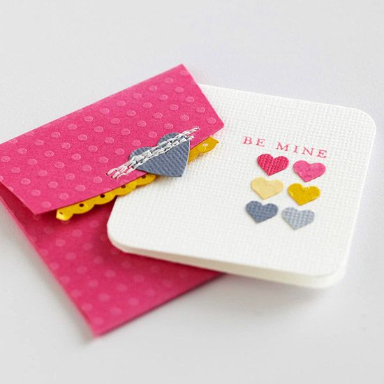 Looking for something simple? We suggest this punched heart card. More ideas for handmade Valentine's Day cards: http://www.bhg.com/holidays/valentines-day/cards/handmade-valentines-cards/?socsrc=bhgpin020413bemine=14