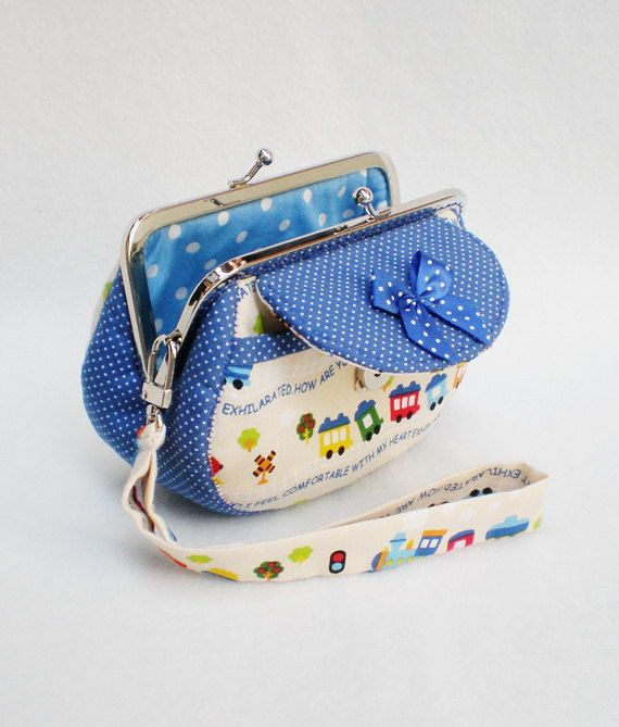 Lovely Trains Clutch Purse Coin Purse Metal Frame by MadeBySiam