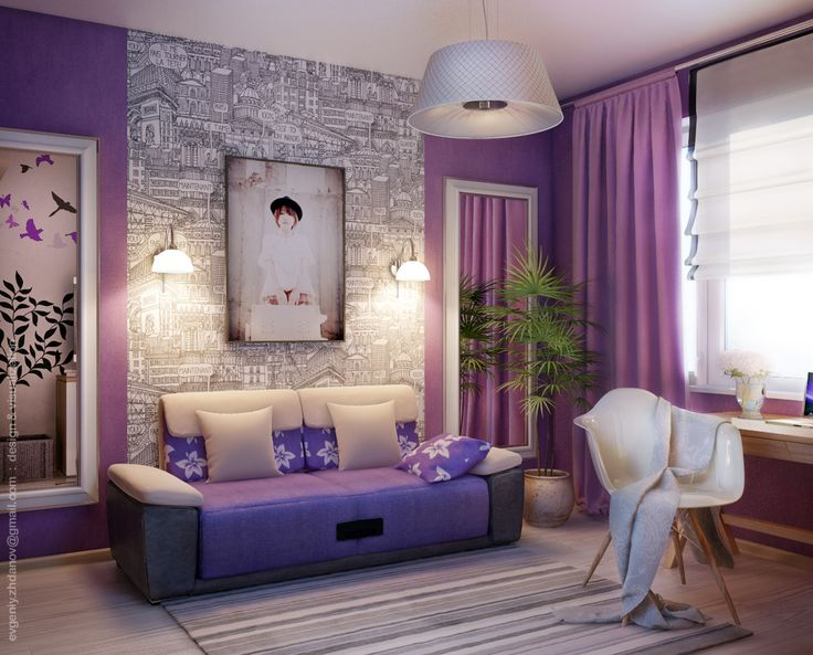 purple bedroom, love the accent wall on this one