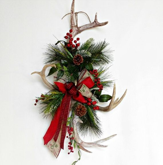 holiday christmas antler wreath - 570×577