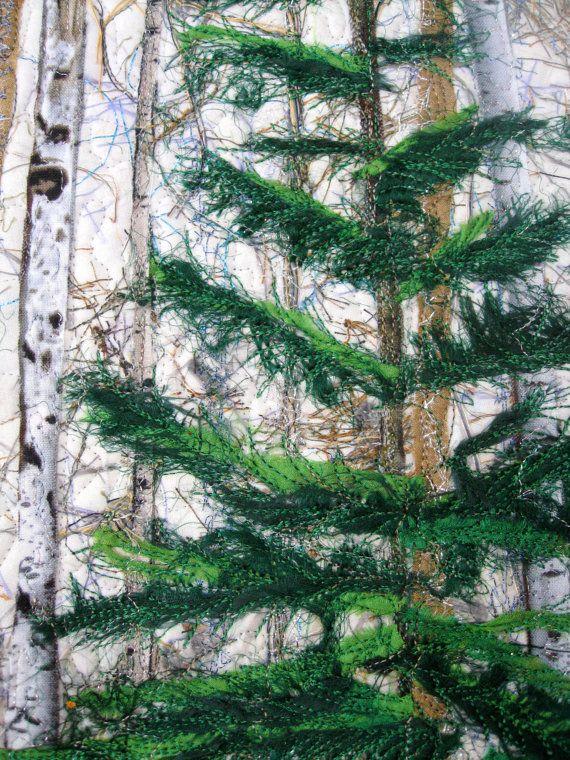 Fiber Art Quilt Woodland Winter Pine Art Quilt by SallyManke                                                                                                                                                                                 More