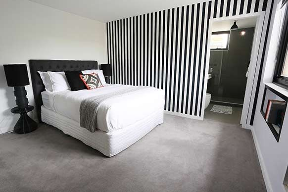 Black and white stripe feature wall bedroom?