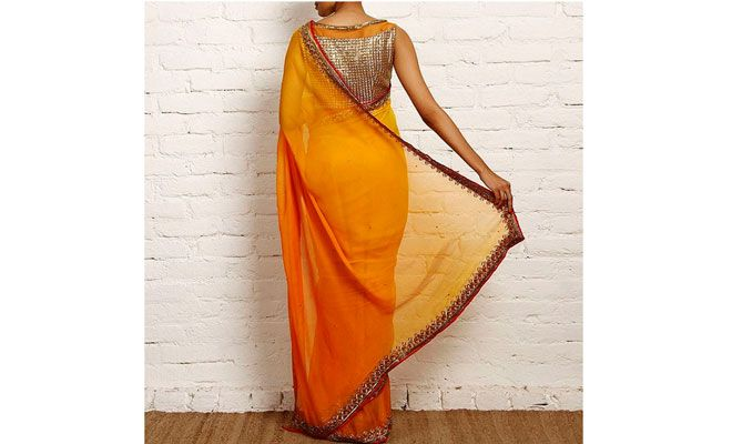 Bright orange saree