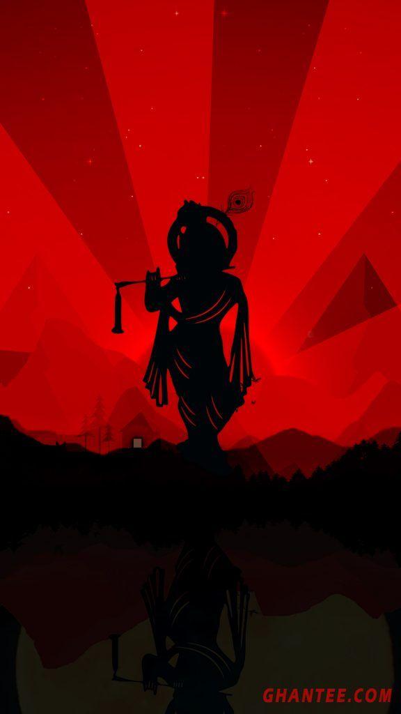 Krishna Silhouette Black And Red Phone Wallpaper Hd In 2021 Lord Krishna Wallpapers Krishna Wallpaper Lord Krishna Hd Wallpaper