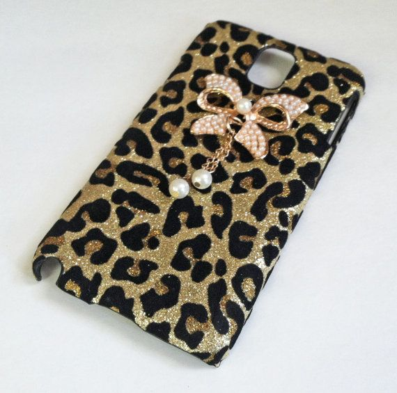 Leopard Samsung Galaxy Note 3 case, Bling Glitter Bow White Pearls Cheetah Pattern Hard Case Cover For Samsung Galaxy Note 3