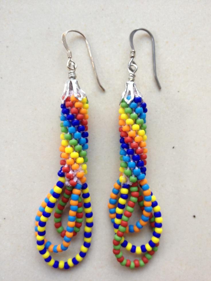 beaded crochet earrings