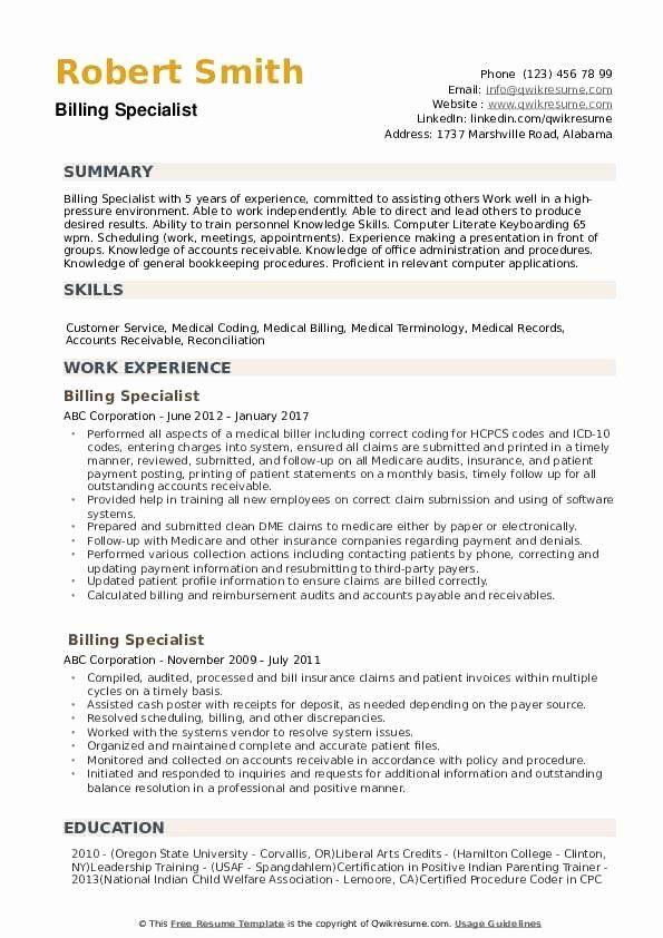 Medical Billing Resume Examples Inspirational Billing Specialist Resume Samples Resume Examples Resume Skills Good Resume Examples