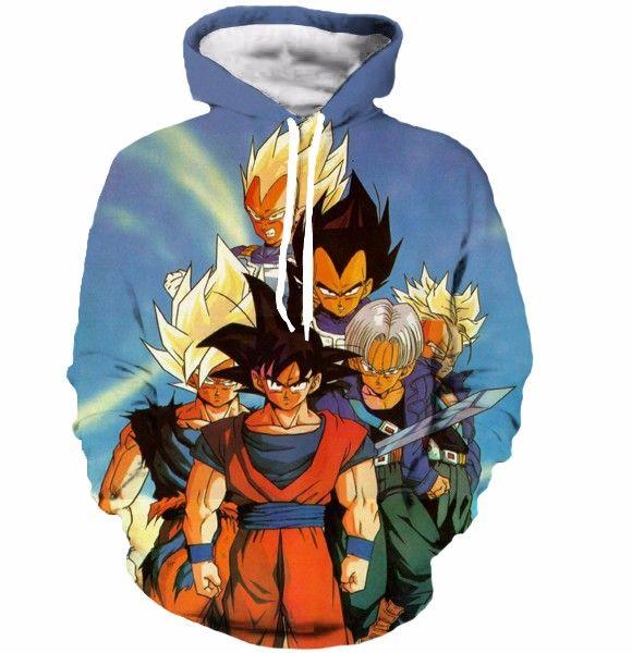 Dragon Ball Classic Goku Trunks Vegeta Blue Vintage 3d Hoodie Fellow Tees In 2021 Anime Hoodie Hoodies Dragon Ball Z