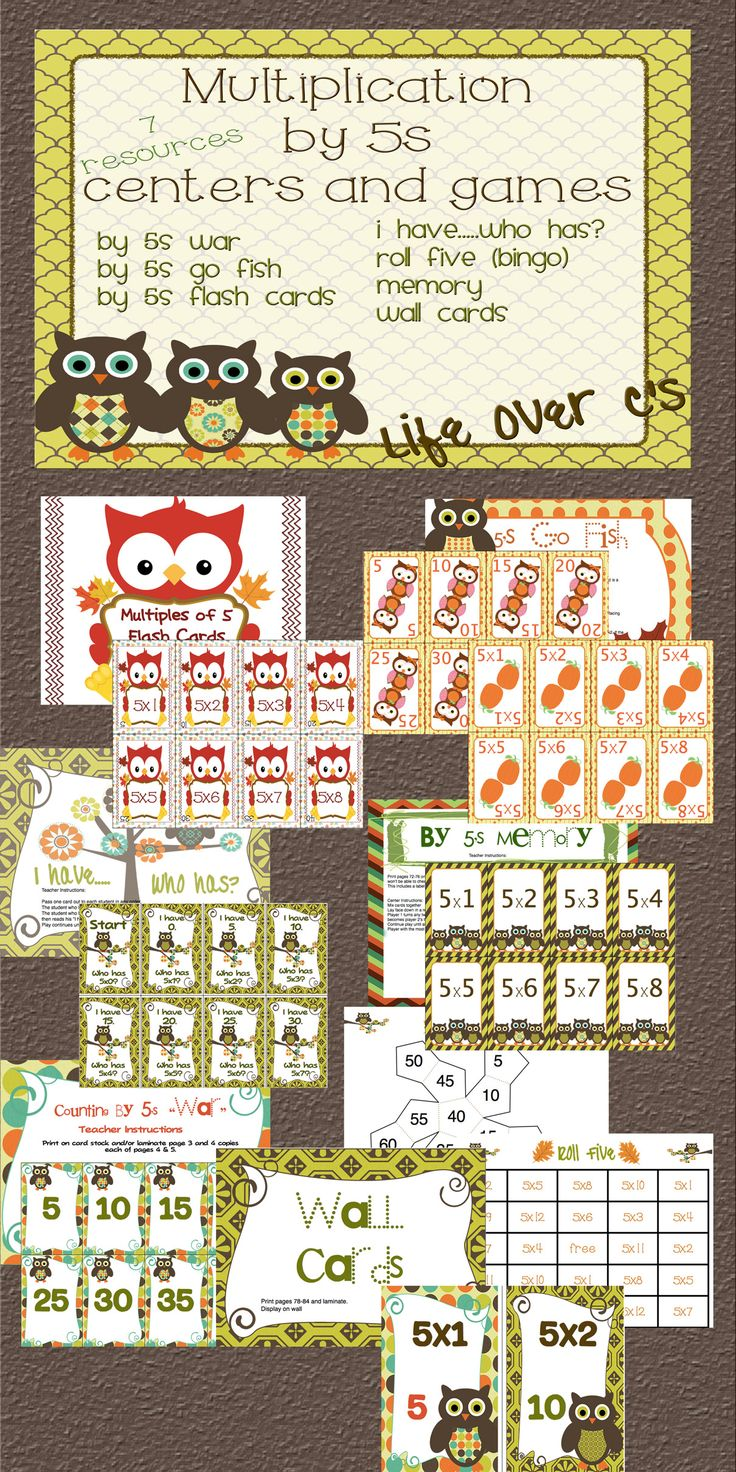 "5s Multiplication Facts Math Center and Games Owl and Fall theme ""War"", Go Fish, Memory, Bingo (can be played as an individual or class), Flash Cards, I have...who has?, Wall Cards $ #math #multiplication #lifeovercs"