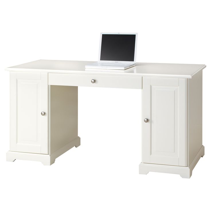 """LIATORP Desk - IKEA  $299  Width: 57 1/8 """"  Depth: 25 5/8 """"  Height: 28 3/4 """"  Width: 145 cm  Depth: 65 cm  Height: 73 cm  Table top/ Other parts: Fiberboard, Acrylic paint, .  Side panel/ Shelf: Particleboard, ABS plastic, Acrylic paint, .  Bottom panel: Particleboard, Melamine foil, Foil  Drawer back/ Drawer side: Particleboard, Foil"""