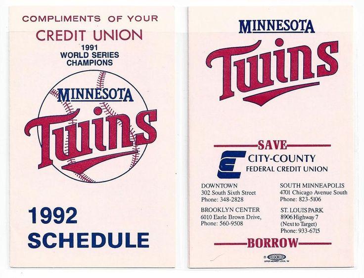 1992 Minnesota Twins Schedule City County Credit Union Puckett Hrbek era