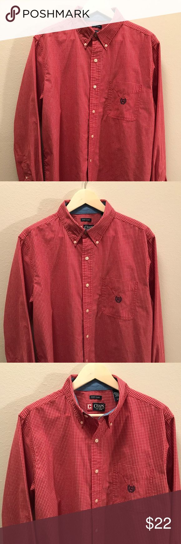 SALE! Classic Chaps Red Checked Shirt Classic Chaps Red Checked Shirt  Size: Large  Classic style / Excellent condition! Chaps Shirts Casual Button Down Shirts