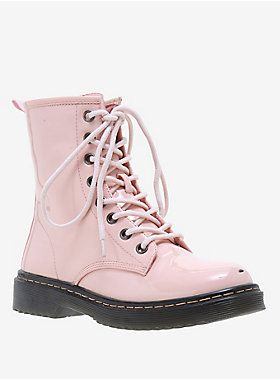 Pretty & tough // Pastel Pink Patent Leather Combat Boot