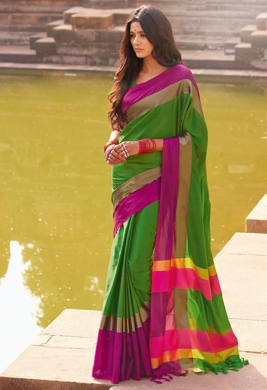 Shop Online for Green & Rani Pink Color Cotton Casual Party Sarees : Shital Collection  YF-37113 - YellowFashion.in - 1