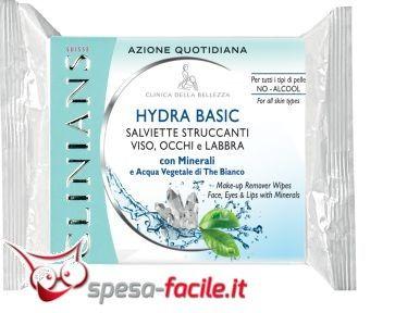 € 2,42  CLINIANS SALVIETTE HYDRA BASIC Salviette Struccanti rimuovono facilmente trucco ed impurità da viso, occhi e labbra