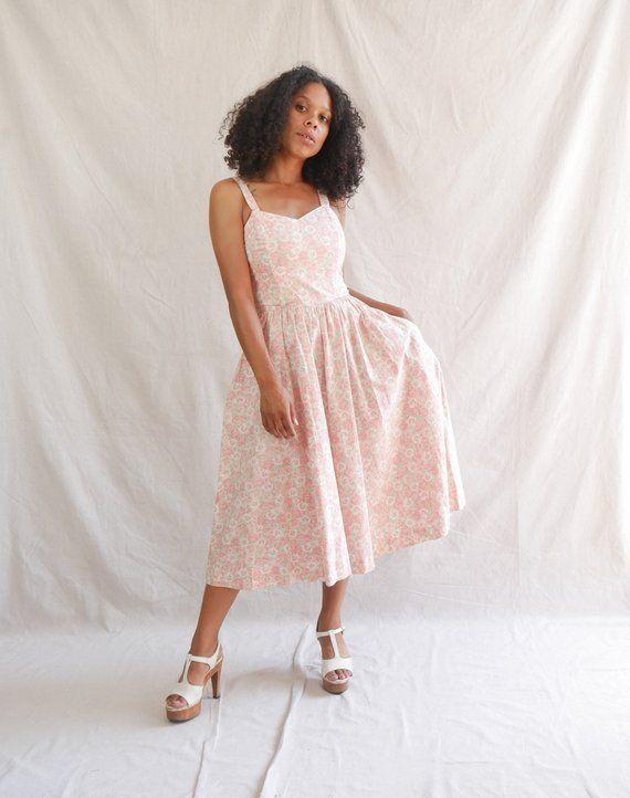 7c4ef97ec988 1960 s Lanz Original dress - cotton floral dress - cotton midi dress -  floral sun dress