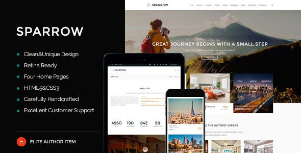 Sparrow – Responsive Journey On-line Reserving Template