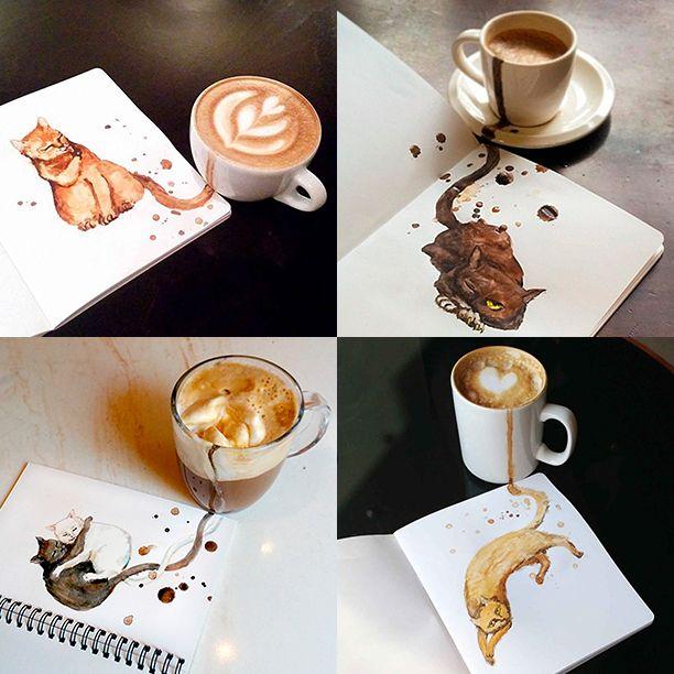 Кофейные коты  Московская художница Елена Ефремова любит котов и кофе. Поэтому она и создала проект Coffee Cats («Кофейные коты»). Интересно, что разные виды кофейных напитков превращаются в совершенно разных котов.  Так, капучино обретает вид ленивого рыжего кота, эспрессо – грациозной черной кошки с пронзительным взглядом, латте превращается в милого пушистого котика, а глясе, кофе с мороженым, – это черно-белая влюбленная парочка, тающая в объятиях друг друга. #кофе #коты #coffee