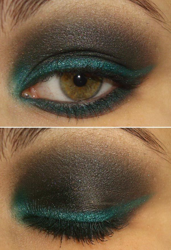 Smokey eye makeup with colorful blue/green liner - Great twist on an old favorite!