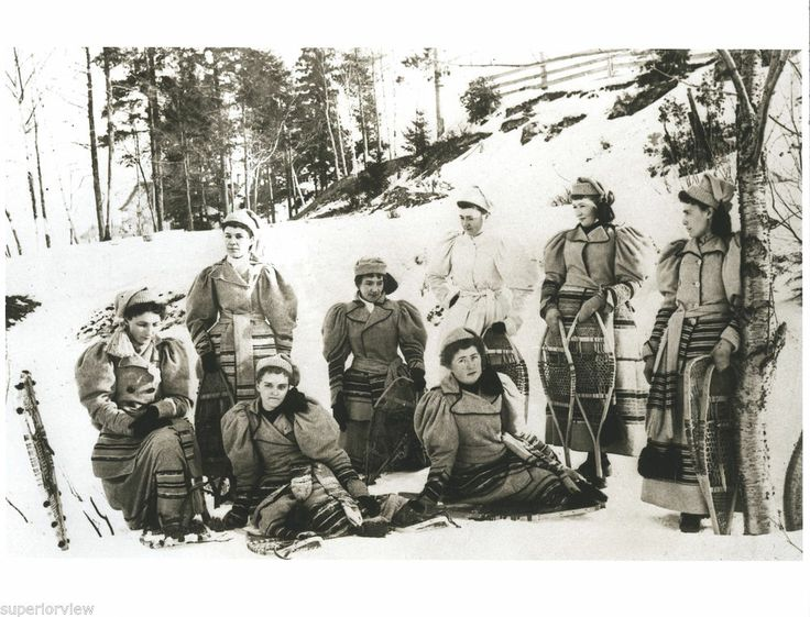 Marquette MI Womens Snowshoe Club 1880 Vintage Snowshoes Wool Winter Clothing
