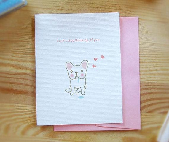 Thinking French Bulldog  Thanking of You by TomokoMaruyama on Etsy, $4.00