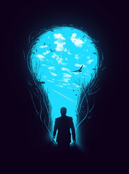 This is a neat little illustration. I love the blue glow of the sky and the negative space. The concept is also interesting in itself.