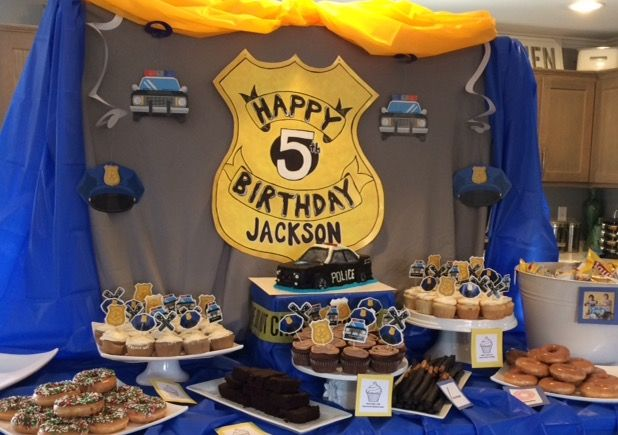 Police Birthday Party, Police backdrop, boy's birthday, fifth birthday