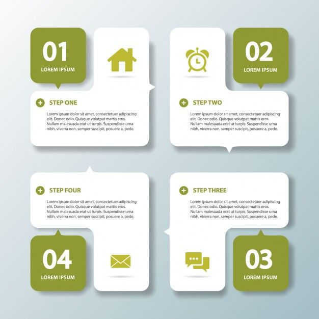 Four green options for infographics Free Vector