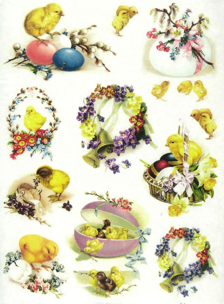 Ricepaper/Decoupage paper, Scrapbooking Sheets Vintage Easter Decorations