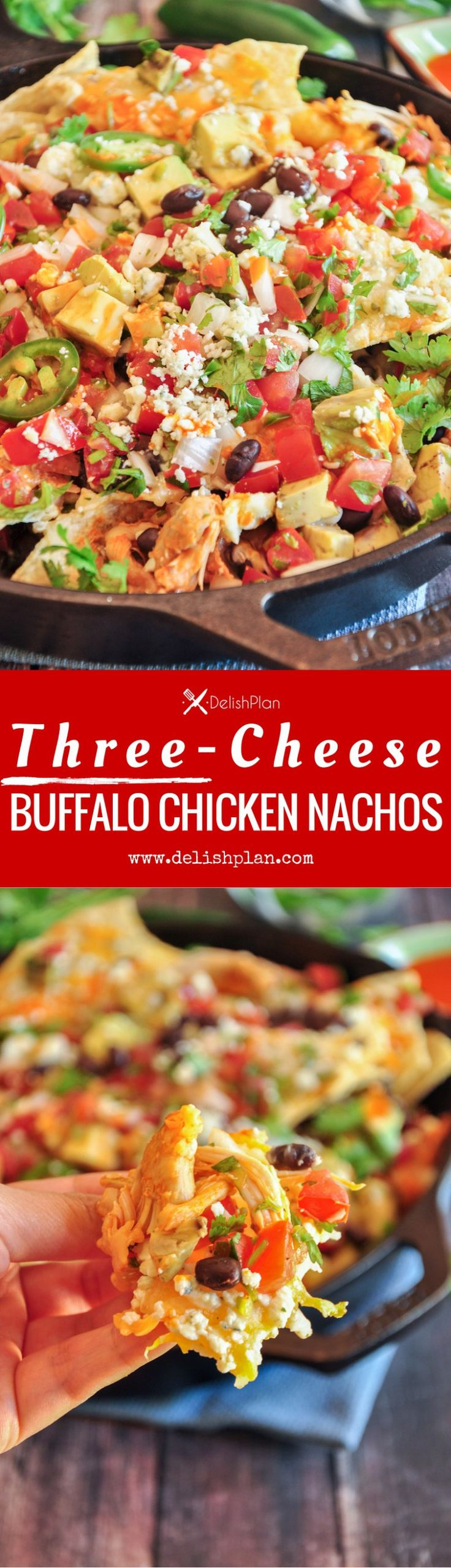 Three-Cheese Buffalo Chicken Nachos- Buffalo chicken nachos cheesed up with cheddar, Monterey Jack cheese and blue cheese and loaded with pico and avocados.