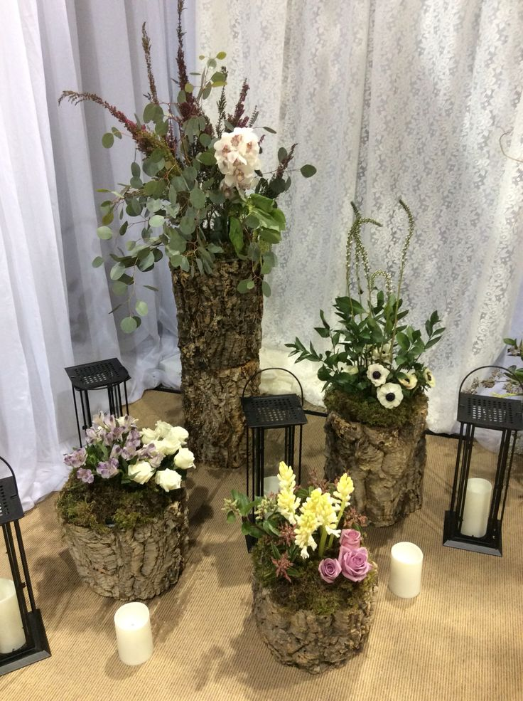 Close ups of our bark stumps and florals