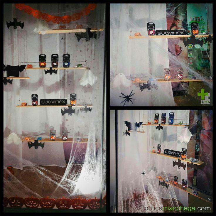 """...y el """"después"""" de nuestro escaparate 🎃👻Venid a verlo en persona,con estos #diasgrises de #lluvia tiene un aspecto aún más terrorífico😊!! 👉Haz tu #pedido antes del lunes y garantiza la entrega en tu domicilio de los #chupetes #Suavinex antes de la #noche de #Halloween 👉Puedes venir a recogerlos a #BoticaManchega,también durante el #findesemana 👉 www.boticamanchega.com #cute #craft #festinha #fiesta #littleparty #decoration #envios #peninsula #baleares #europa #dulzura…"""