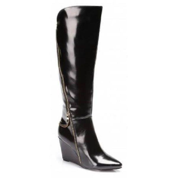New Women's Black Long Boots Wedge Heel Zip Knee High Synthetic Leather