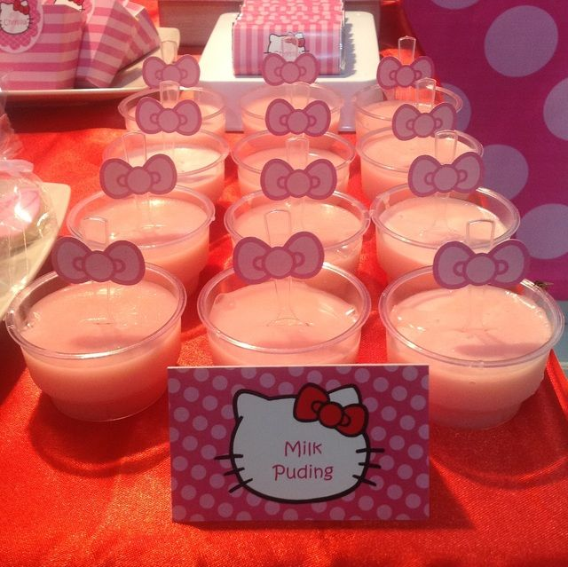Pudding at a Hello Kitty Party #hellokitty #party