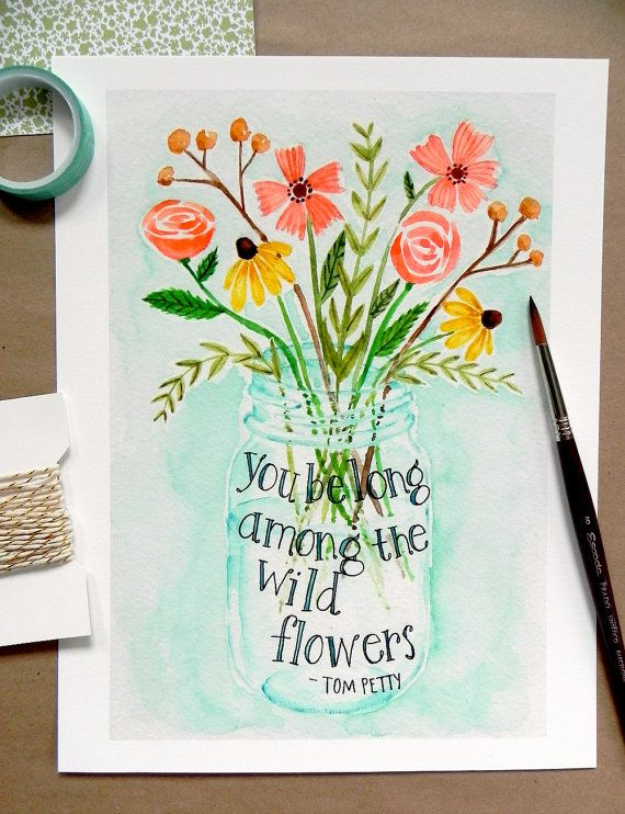 Wildflower Bouquet Art Print/ Flower Watercolor- 8x10
