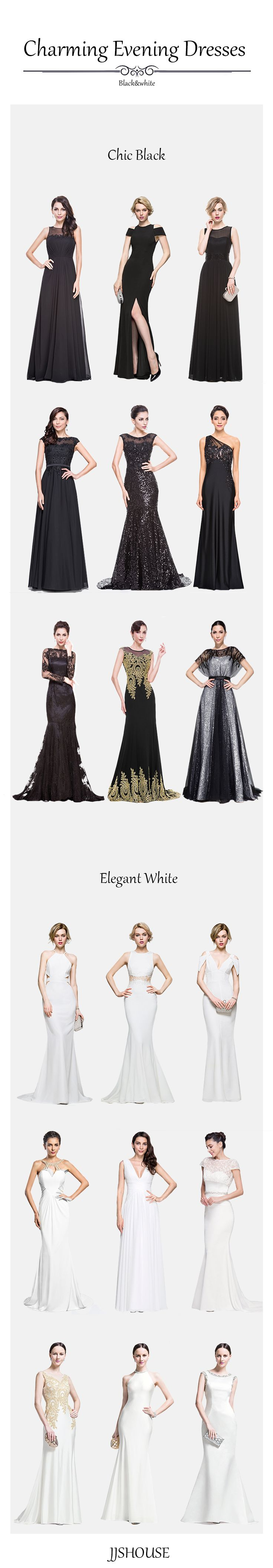 Chic Black & Elegant White #Eveningdresses! Choose one now! JJSHOUSE