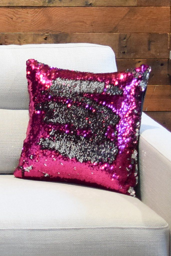Fuschia Pink & Silver Sequin Mermaid Pillow *Limited Edition*