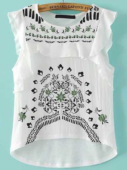 Shop White Embroided Ruffle Trim Cap Sleeve Top online. SheIn offers White Embroided Ruffle Trim Cap Sleeve Top & more to fit your fashionable needs.