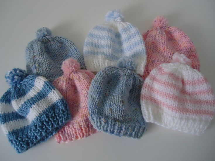 Easy Knitting Patterns For Babies : Knitting newborn hats for hospitals knitted baby