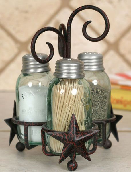 Country Kitchen Decor - Napkin and Salt and Pepper Caddies - Country Decor, Primitive Decor, Bedding, Braided Rugs