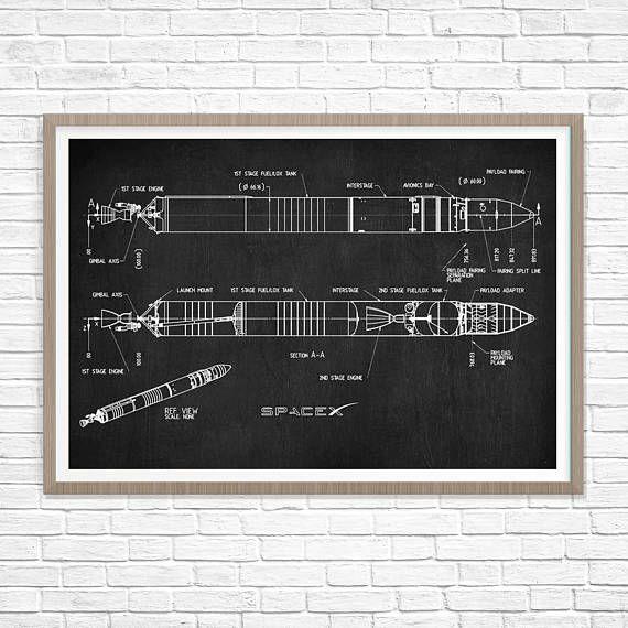 SpaceX Falcon 1 Patent Print Falcon Blueprint Space X