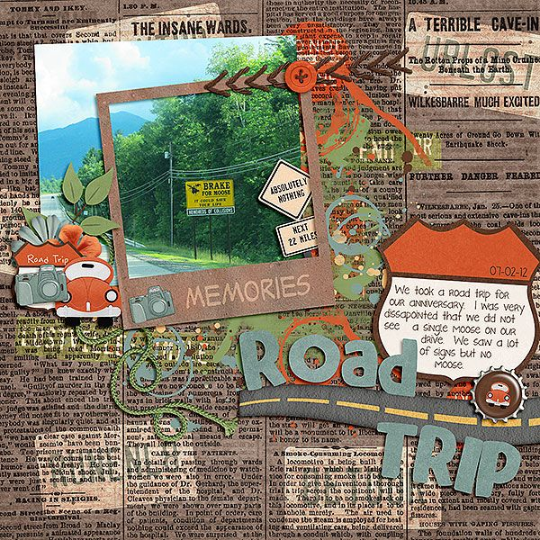 Layout by Kimberly (LLD) | Travel ideas - With summer finally here fill a scrapbook album of all your best road trip memories! Or, save everything in a box to create the pages later, like this winter when the weather keeps you inside!